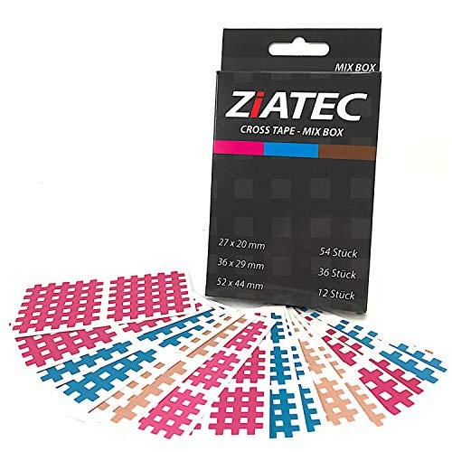 ZiATEC bandes croisées avec des emplâtres 102, 204 et 306, bandes de treillis, patchs d'acupuncture à structure de treillis, bandes physio, couleur:Mélanger - 102 pièces, taille:Uni-Box
