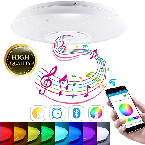 SmartHitech LED Smart Music, Lámpara de Techo con Altavoz Bluetooth, 60W RGB Regulable Lámparas de Modernas con Control Remoto/Controlador de App