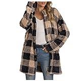 American Flag Sweatshirt Cozy Cardigans for Women Open Front Sleeveless Cardigan Coat with Pockets Spaghetti Strap Tank Top Plaid Jacket Women Cowl Neck Pullover Sweater(Khaki,2XL)