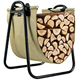 TJ.MOREE Fireplace Log Holder Rack with Canvas Log Carrier for Indoor Outdoor Wood Storage Log Bin Heavy Duty (Olive Drab Faded)