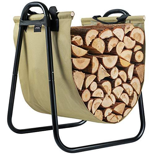 TJ.MOREE Fireplace Log Holder Rack with Canvas Log Carrier for Indoor Outdoor Wood Storage Log Bin...