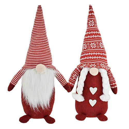 CREOFANT Gnomo nórdico XL 45 cm · Juego de 2 figuras decorativas de Navidad Gnomo rojo · Gnomo con gorro de invierno · Figuras decorativas · Figuras de duende de Navidad