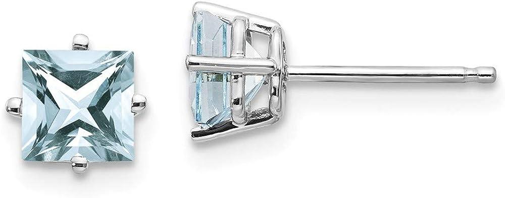 Solid 14k White Gold Aquamarine Blue March Gemstone Studs Earrings 6mm