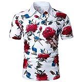 Camisa de verano de manga corta para hombre, camisa informal a rayas, clásica, transpirable, cuello alto, para fiestas formales Blanco_2 XXL