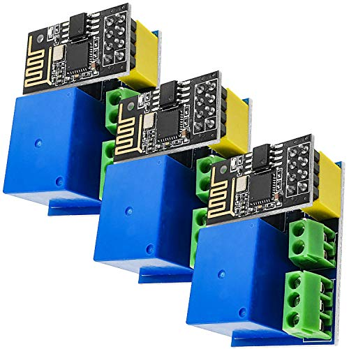 AZDelivery 3 pcs ESP8266-01S ESP-01S Módulo WiFi Wlan 5V con Rele Adaptador (sucesor de ESP01) con E-Book incluido!