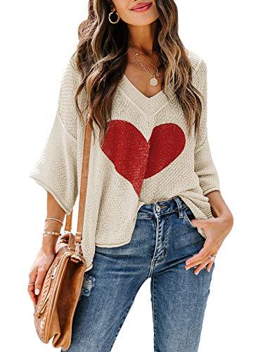 CORAFRITZ Camiseta de manga larga para mujer, diseño de corazón, cuello en V, cuello en V