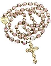 Sklep z Nazaretu katolicki różowe kryształowe koraliki złoty różaniec kwiaty naszyjnik z koralikami święta Maryja serce medalion medal i krzyż religijny amulet dla kobiet