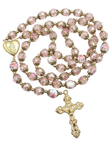Nazareth Store Perle di cristallo rosa cattolico Collana con rosario in oro Fiori con perline Collana con medaglione del cuore di Santa Maria e croce Amuleto religioso per donna