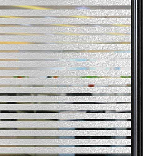 Qualsen Vinilo Cristal Ventana No Se Adhiere Vinilo Ventana Privacidad Decorativas Rayas Esmeriladas Vinilos para Ventanas la Oficina Salón Cocina (90 x 200 cm, Raya Mediana)