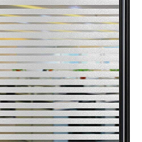Qualsen sichtschutzfolie Fenster fensterfolie Milchglasfolie Sichtschutz gestreifte Folie Anti-UV für Zuhause, Büro, Tagungsraum (45 x 200 cm)