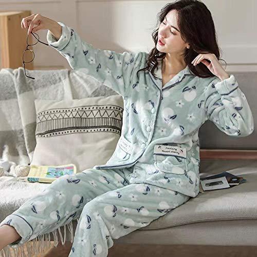 Empty Herbst Winter Pyjama Set für Frauen Dickes warmes Flanell Damen Nachtwäsche Langarm Oberteil & Unterteile können außerhalb getragen Werden -XL_62.5-75KG
