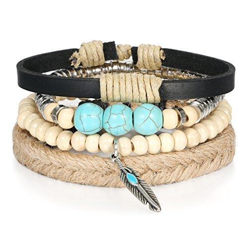 JewelryWe Schmuck Tibet WICKELARMBAND Serie Leder Armband Armreif Surferarmband für Herren Damen Unisex, Blatt Feder Anhänger mit Imitation Türkis Holz Perlen