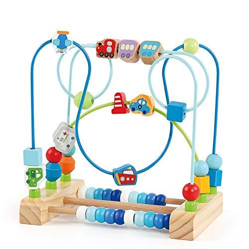 Actividad Cubo de Madera Bead Maze Actividad de Madera Cube Actividad Centro multifunción Bead Maze Juguete Regalo para niños Niños Niños Niñas Actividad de Aprendizaje Divertido Cubo