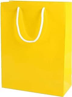 Thepaperbagstore 15 Bolsas Pequeñas De Papel para Fiestas Y Regalos, Brillantes, con Manijas De Cuerda - Amarillas - 150x220x80mm