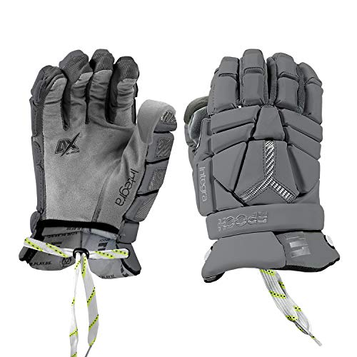 """Epoch Integra Elite Lacrosse Gloves for Goalies with Tri-Layer Dual-Density Foam and Adjustable Wrist, 13"""", Large, Grey"""