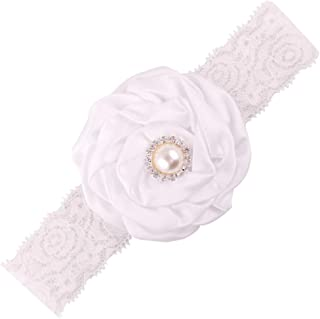 Baby Girl Wide Lace Turban Headband Head Wrap Hair Band With Pearl Flower