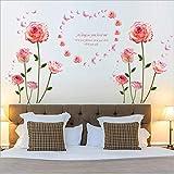 TFjXB DIY Wall Art Sticker Washing Vinyl Decal,Mural de Arte Artesania bricolaje Removible pegatinas decoracion,Pegatina de pared vinilo adhesivo decorativo para cuartos,Rosa rosa123 * 132 cm (2PCS)