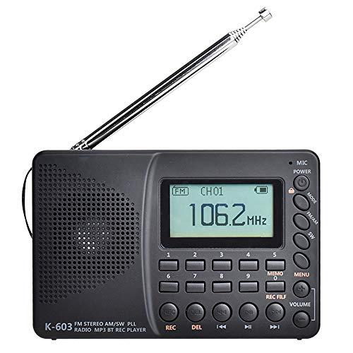 Winbang Radio Portátil, FM Am SW Radio Bluetooth de Banda Completa Radio de Bolsillo