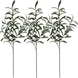 28' Artificial Olive Branches Plants Blackish Green Olives Fruit Artificial Greenery UV Resistant Plants Shrubs for Home Office Garden Wedding Indoor Outside Decor DIY Wreath 3 Pcs