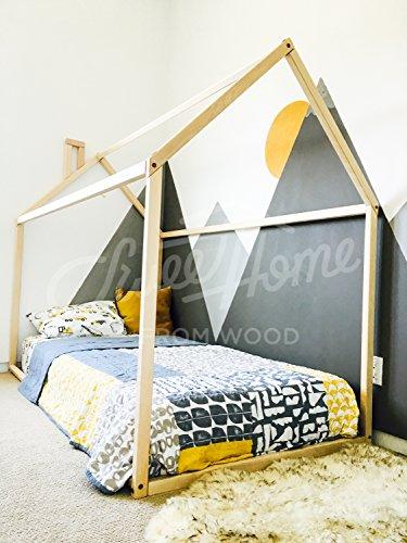 Cama casita con chimenea para colchón de 90 x 200 cm