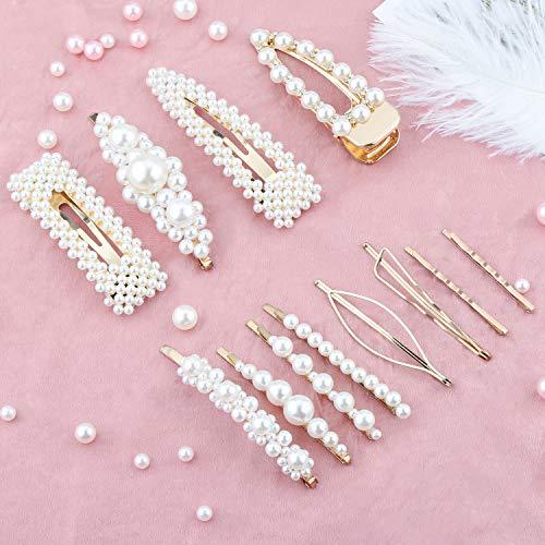 Makone haarspange-12 PCS haarspangen perlen Mädchen haarspangen damen Haarnadeln Handgemachte Haarspange Frauen Haarspangen für Hochzeit, tägliche Party