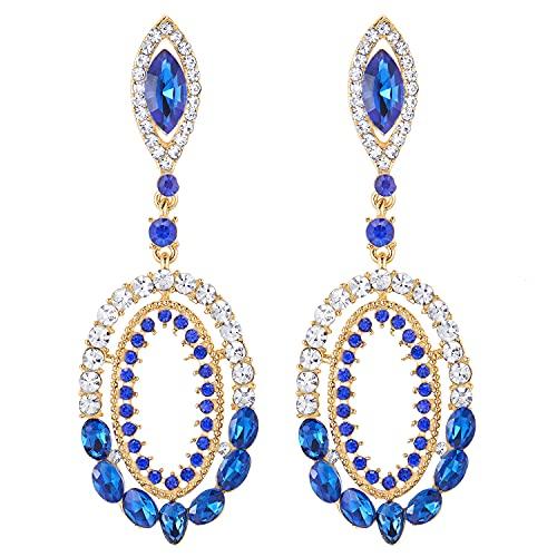 Prom Fiesta Vestir Victoriano Marquesa Azul Cristal Rhinestones Cluster Oval Grande Oro Color Statement Pendientes