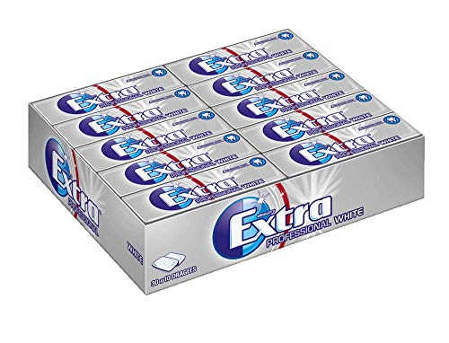 Extra Kaugummi | Professional White | Zuckerfrei | 30 Packungen (30 x 10 Dragees)