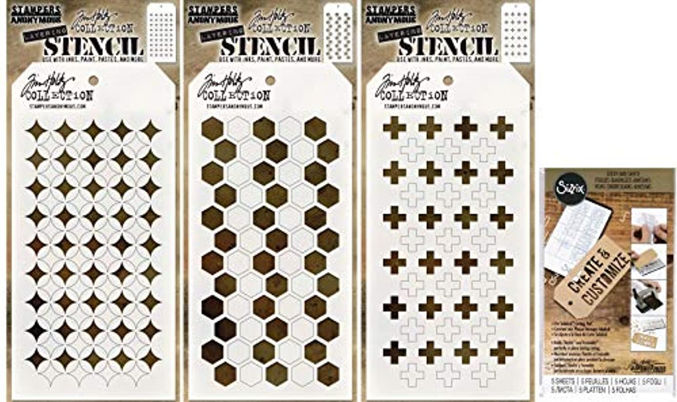 Tim Holtz Shifter Stencils 2019 - Shifter Burst, Shifter Hex, Shifter Plus and Sticky Grid Sheets - 4 Items