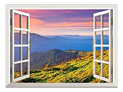 wall26 A Peaking View Through the Forest of the Morning Sunrise - Wall Mural, Removable Sticker, Home Decor -