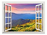 Removable Wall Sticker/Wall Mural - Beautiful View of Mountain Range at Sunrise | Creative Window View Wall Decor - 24'x32'