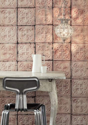 Brooklyn Tins Wallpapers by Merci Tapete, 1.000x48,7cm, Pink, 1Rolle