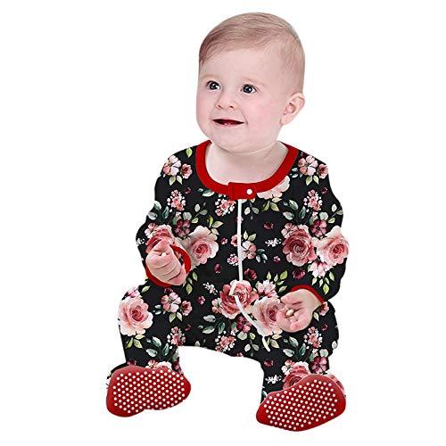Mono para niños y niñas, unisex, otoño, manga larga, color escalar, con pies, cuello redondo, de mezcla de algodón para niños, fácil de llevar rojo 3-6 Meses