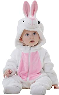 Toddler Bunny Costume,Animal Rabbit Cosplay Pajamas for Toddler Girl Winter Flannel Romper Outfit