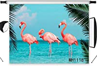HD Tropical Pink Flamingo Backdrop 10x7ft ue Ocean Palm Tree Leaf Photography Background Summer Party Banner Photo Shoot Studio Props MH1118