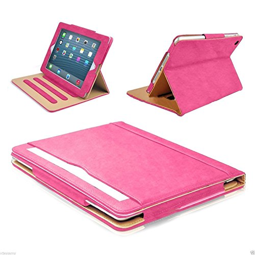 S-Tech iPad 2 3 4 Generation 9.7' Smart Case (Original iPad Models) Soft Leather Wallet Magnetic Cover Stand with Document Pocket for Apple (Rose)