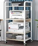 Support D'imprimante, Support D'imprimante 4 Niveaux Table D'imprimante avec 4 Roues Multifonction Chariot Organisateur Bureau Étagère D'imprimante pour Imprimante 3D De Bureau,Blanc,52 * 40 * 107 cm