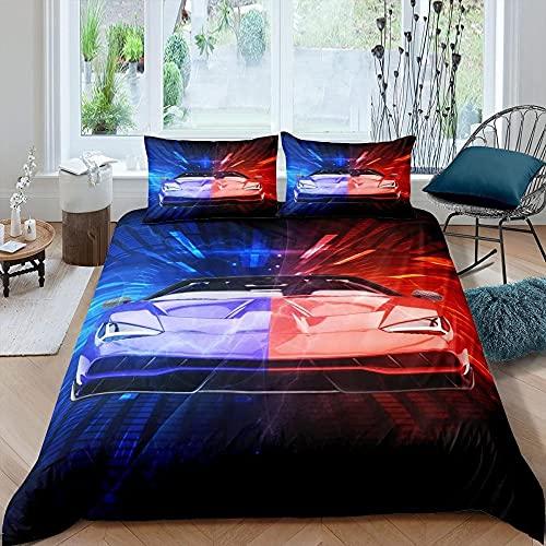 Dubbele Dekbedovertrek Set Blauw Rood Auto Quilt Beddengoed Set met Ritssluiting + 2 Kussenslopen Zachte Hypoallergene…