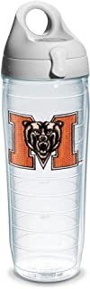Tervis Mercer University Emblem Individual Water Bottle with Gray lid, 24 oz, Clear