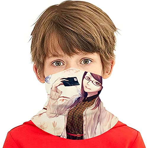 LAOLUCKY Tokyo Ghoul Kamishiro - Polaina para cuello de pescado con 6 filtros de protección UV, bufanda de seda de hielo, a prueba de viento, transpirable, para deportes al aire libre, uso diario
