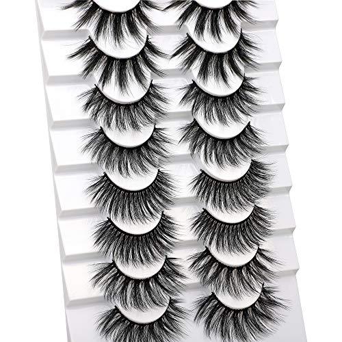Calphdiar 8 Pairs False Eyelashes Natural Look Fake Lashes Fluffy 3D Volume Eye Lashes Pack 4 Variety Styles