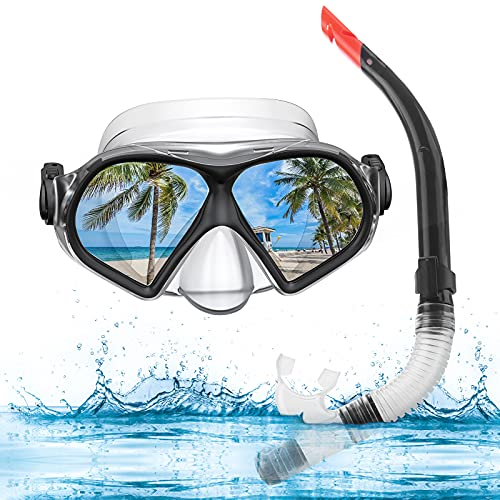 WeaArco Set de esnórquel para adultos, antivaho, con válvula de purga de agua, semiseco, antifugas, gafas de buceo para esnórquel