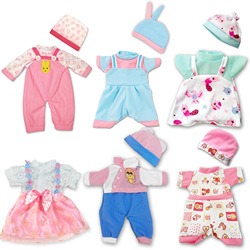 ARTST Doll Clothes,12 inch Baby Doll Clothes 6 Sets Include 5 Caps fit for 10 inch Dolls /11 inch Baby Dolls/ 12 inch Baby Dolls/