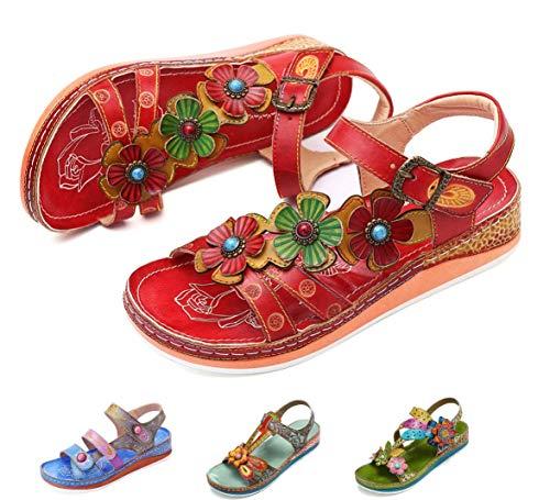 gracosy Sandalias Cuero Planas Verano Mujer Estilo Bohemia Zapatos para Mujer de...