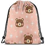 huatongxin Unisex Bolsa de Hombro,Tote School Rucksack,Bolsa de Gimnasio Ligera,Drawstring Backpack,Pink Bear Travel String Pull Bag,Gym Sack Bag,Sport Cinch Pack