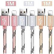 Luvfun 3-Pack Câble pour iPhone, 1m Nylon Tressé Câble Chargeur iPhone avec Aluminium Connecteur Résistant (Or Rose+Argent+Or)