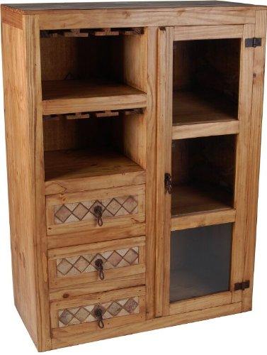 MiaMöbel Barschrank Mexico Möbel 90x125x40 cm Landhausstil Massivholz Pinie Honig