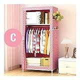 LYLY Armario minimalista moderno no tejido de tela para bebé, armario de almacenamiento, plegable, de acero, para dormitorio, muebles (color: C)