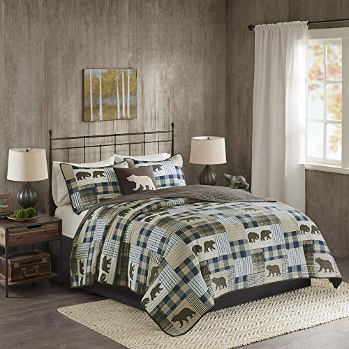"Woolrich Reversible Quilt Cabin Lifestyle Design - All Season, Breathable Coverlet Bedspread Bedding Set, Matching Shams, Full/Queen(92""x96""), Bear Brown/Blue, 4 Piece"