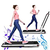 GYMAX Folding Treadmill, Electric Running Machine with Blue-Teeth & LED Screen, Portable Under-Desk Walking Machine for Home, Office, Gym (Silver)
