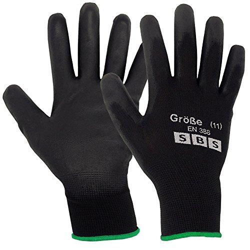 SBS, 12 paia di guanti da lavoro, colore nero, in nylon, ideali per montaggio